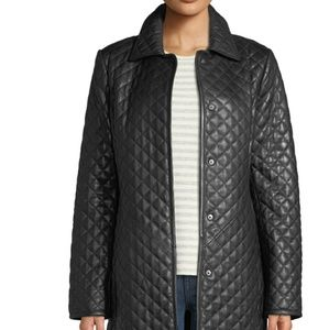 Quilted leather black jacket